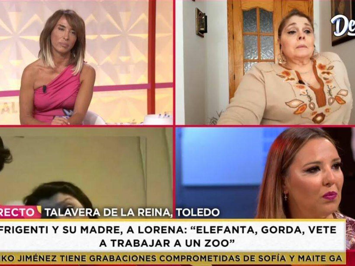 Foto: María Patiño y la madre de Miguel Frigenti, en 'Socialité'. (Mediaset)