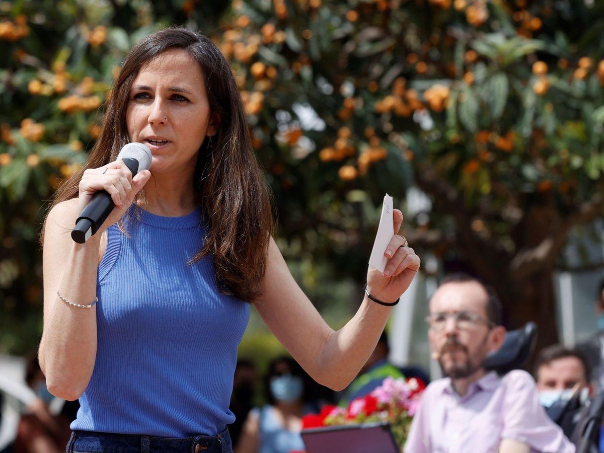 Foto: La ministra de Derechos Sociales y secretaria general de Podemos, Ione Belarra, en un acto en Valencia. (EFE)
