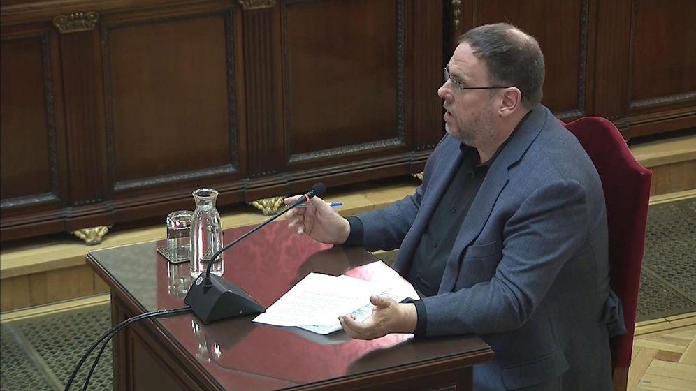 Foto: El exvicepresidente de la Generalitat Oriol Junqueras en el juicio del 'procés'. (EFE)
