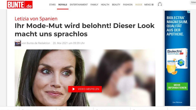 La 'valentía en la moda de Letizia' en el digital alemán 'Bunte'.