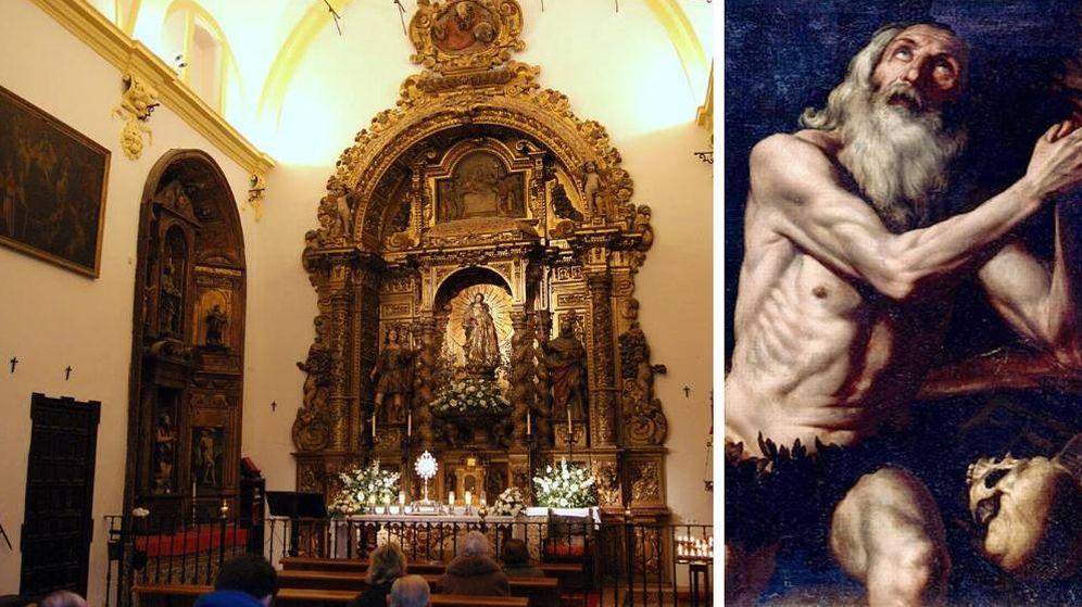 Foto: La capilla de San Onofre, en Sevilla, y una imagen de San Onofre de Egipto