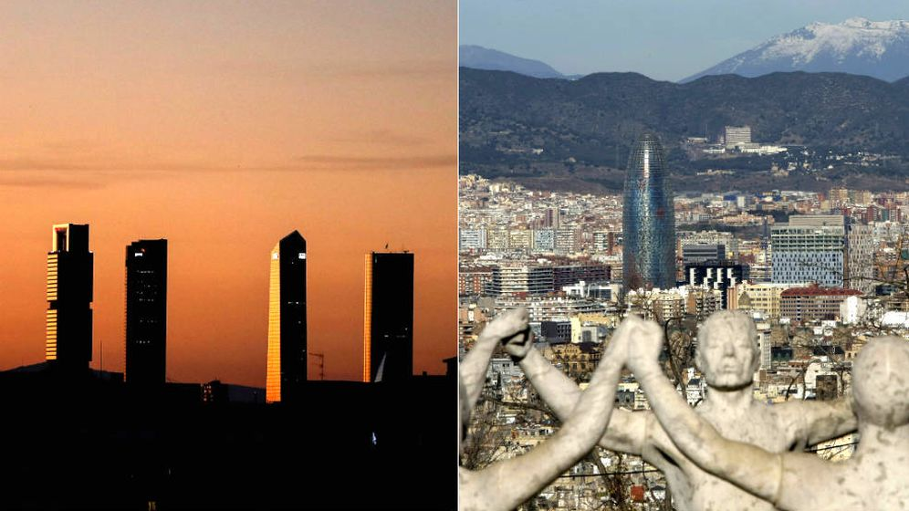 Foto: 'Skyline' de Madrid (i) y Barcelona.