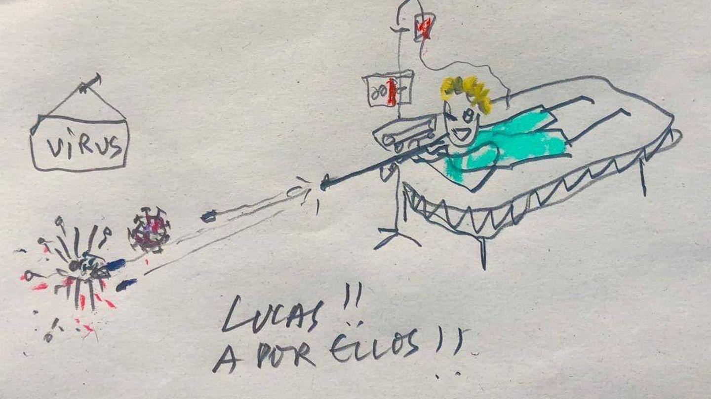 Dibujo que le mandó a Lucas su tío Rubén para animarle cuando entró en la UCI.