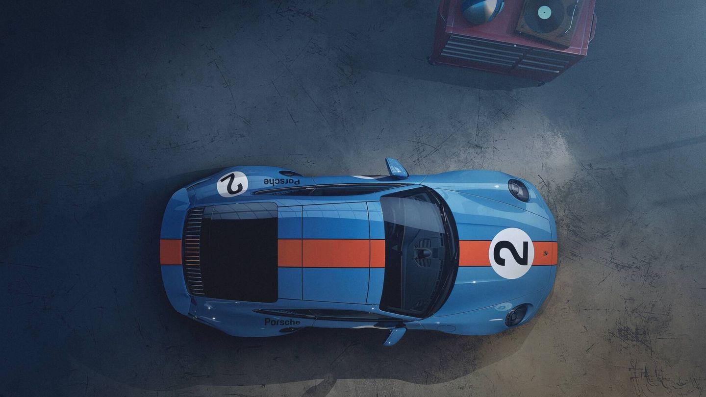 Carrocería en azul Gulf y banda naranja recorriendo el coche longitudinalmente, igual que en el 917 KH de carreras.