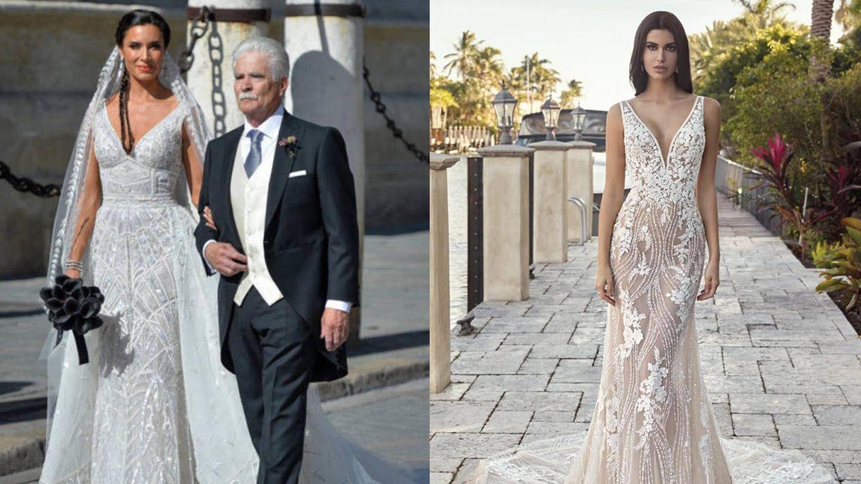 Pilar Rubio junto a su padre el día de su boda / Vestido de Demetrios. (Getty / Cortesía)