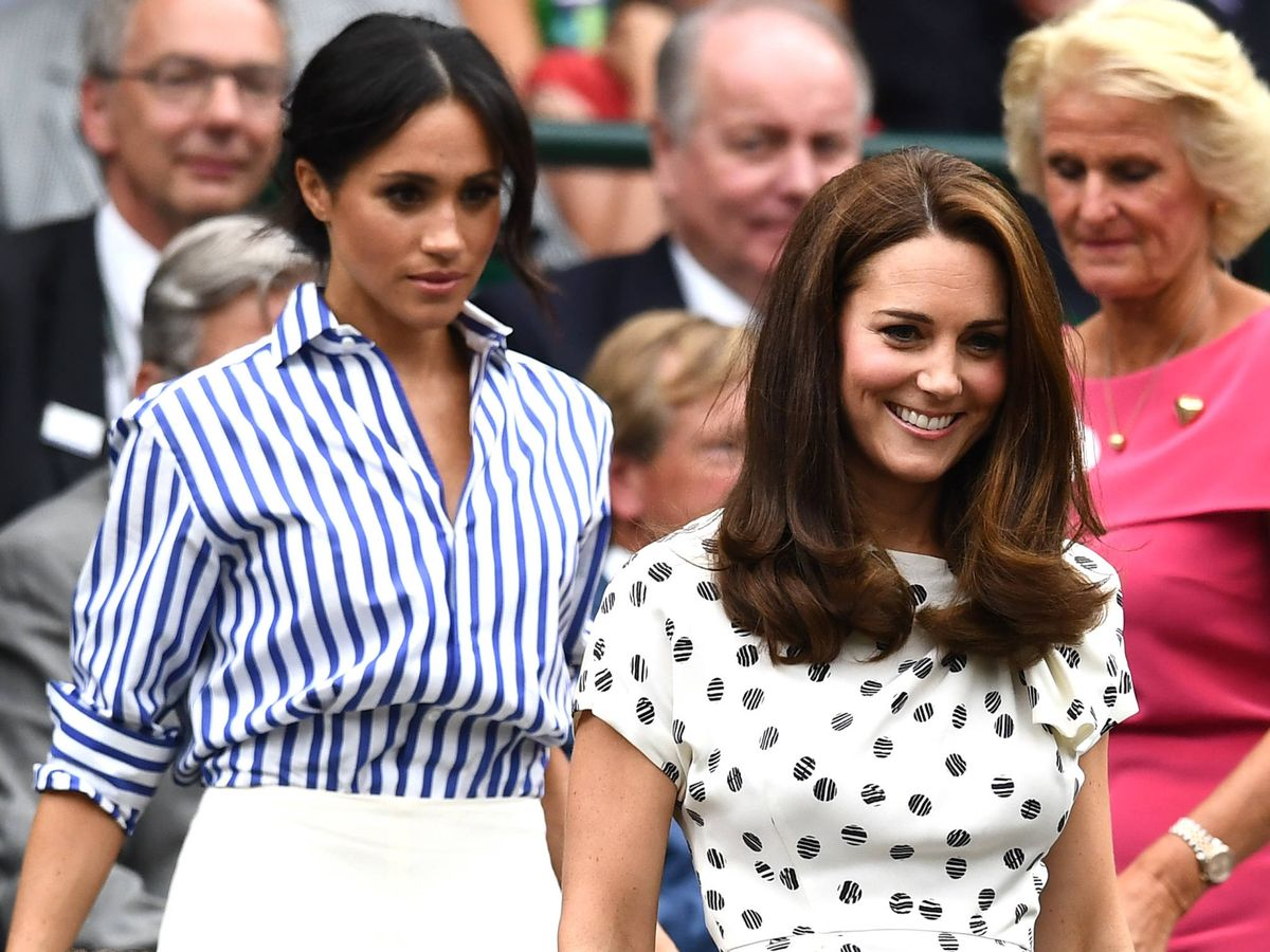 Foto: Meghan y Kate, durante un partido de Wimbledon. (Getty)