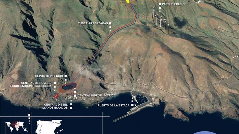 Esquema de la central hidroeólica de Gorona del Viento, en El Hierro
