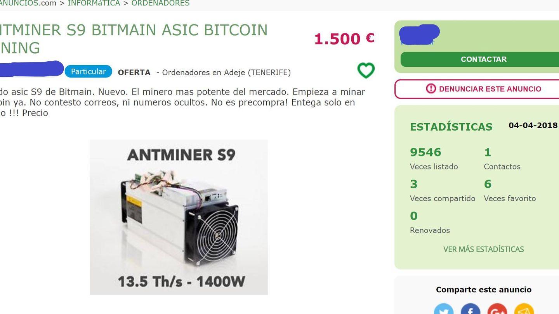 Un anuncio de un equipo para minar bitcoin. (MilAnuncios)