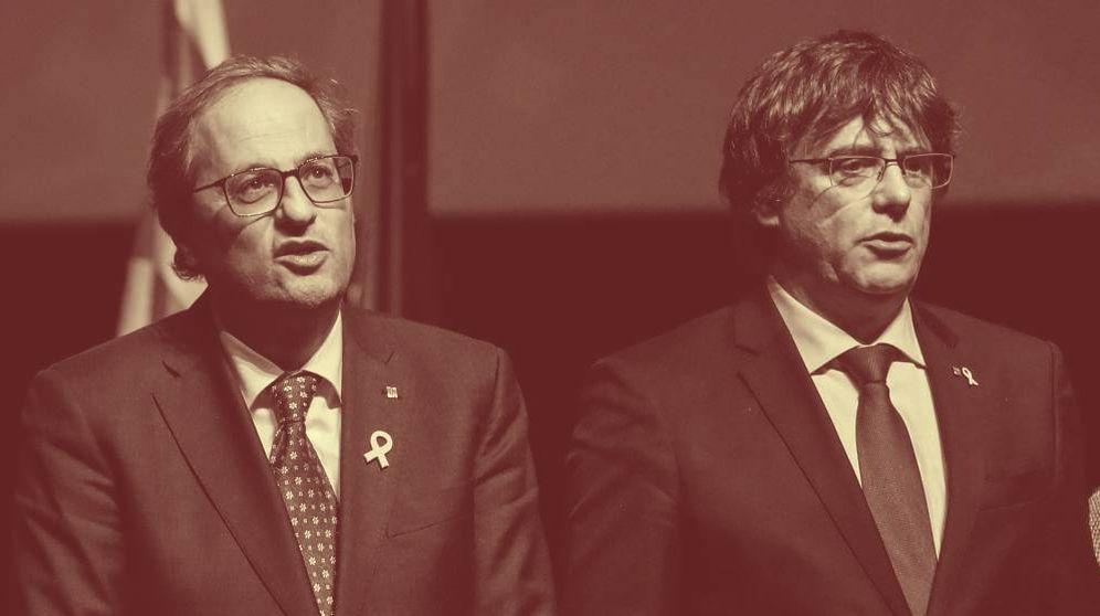 Foto: El expresidente catalán Carles Puigdemont (d), junto al presidente de la Generalitat, Quim Torra. (EFE)