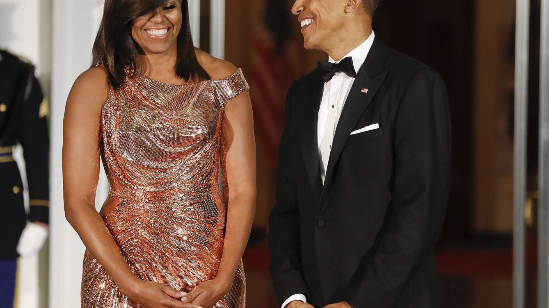Foto: Michelle Obama y su marido antes de dar comienzo la cena de gala (Gtres)