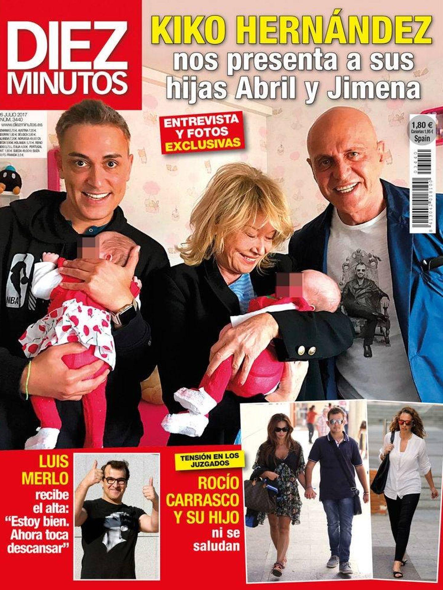 Portada de la revista 'Diez Minutos' con las hijas de Kiko Hernández.