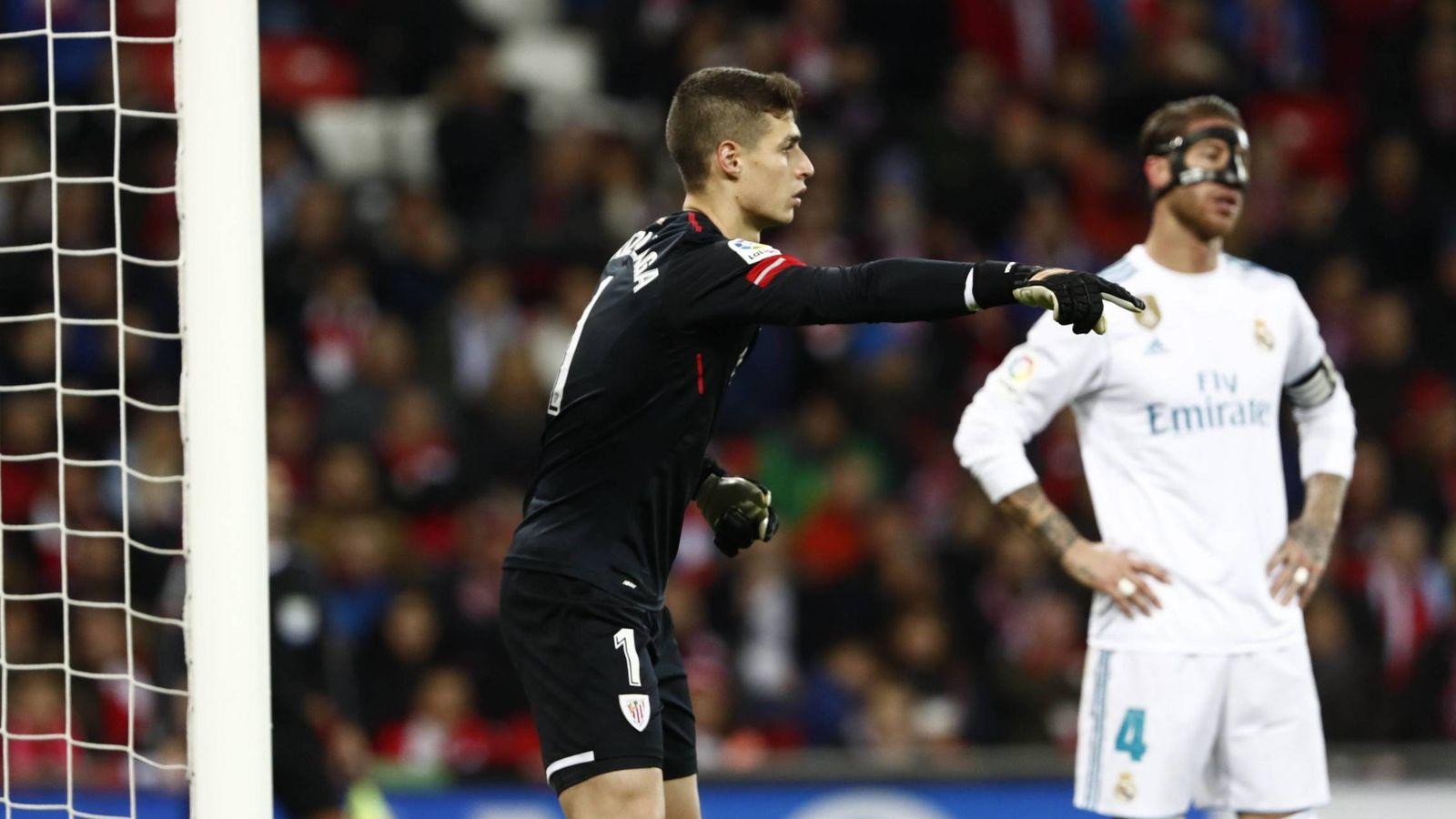 Foto: Kepa, junto a Sergio Ramos, durante el último Athletic-Real Madrid. (FOTO: Cordon Press)