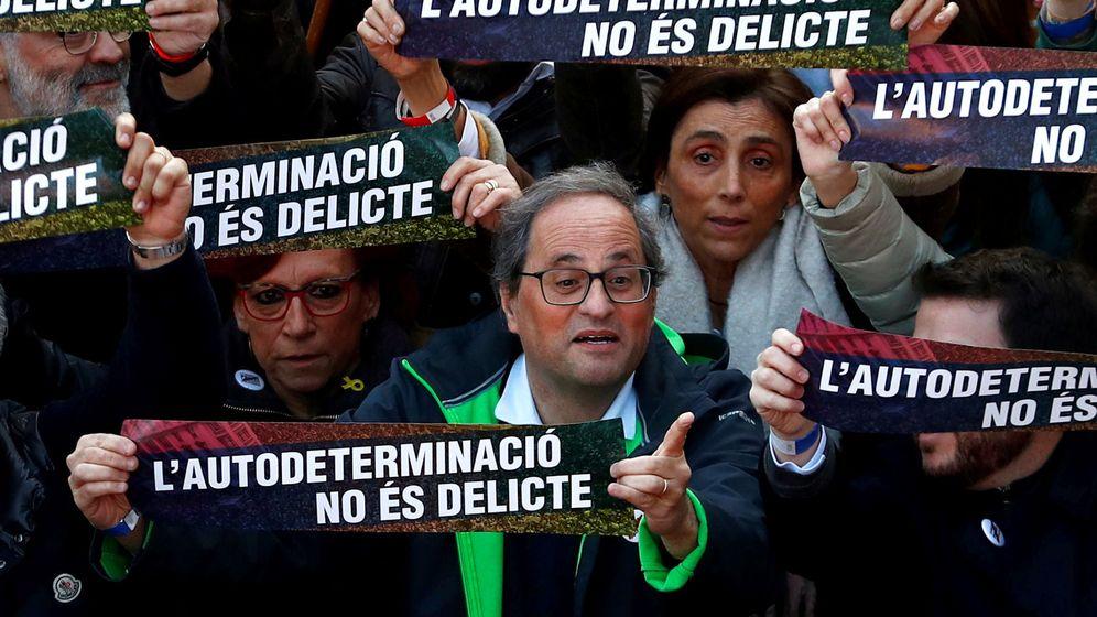 Foto: Quim Torra en la manifestación de este sábado contra el juicio del 'procés'. (EFE)
