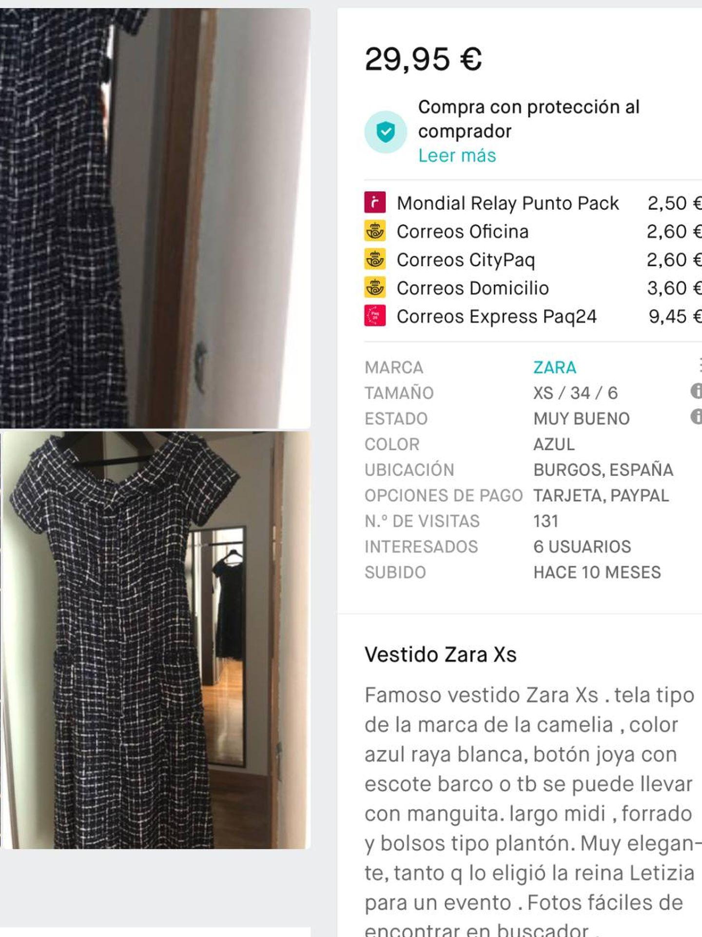 El vestido de Zara a la venta en Vinted.