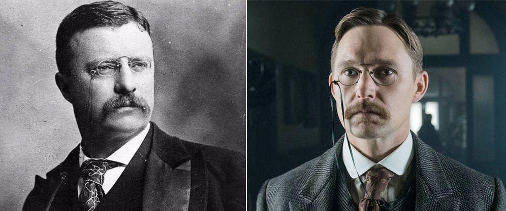 Foto: Theodore Roosevelt en una imagen de archivo y a su derecha Brian Geraghty caracterizado como él. (E.Villarino)