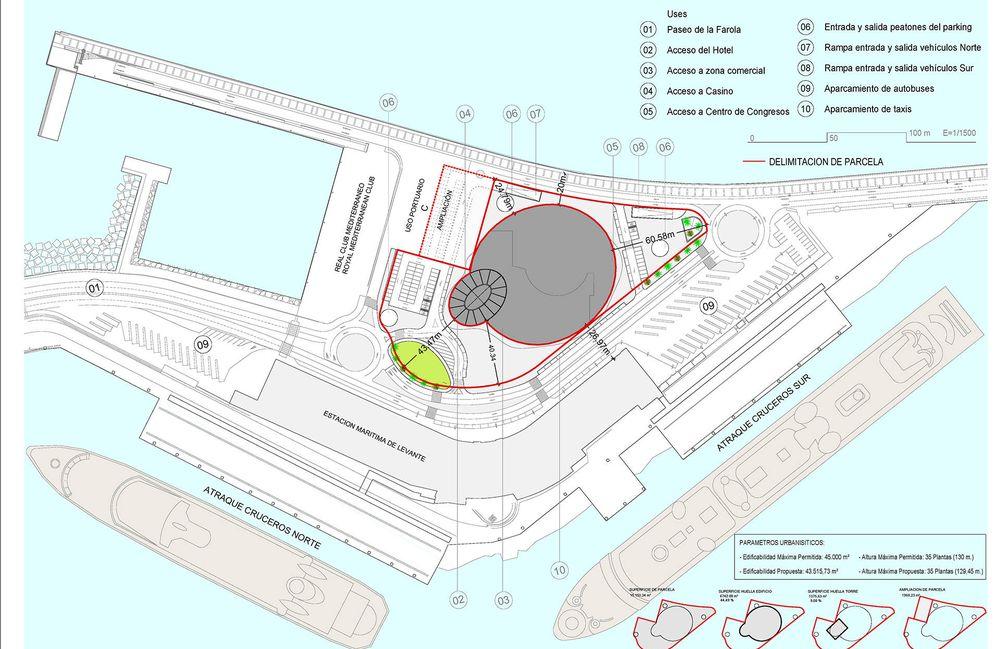 Foto: Plano del proyecto Hotel-Suites Málaga Port. (Estudio Seguí)