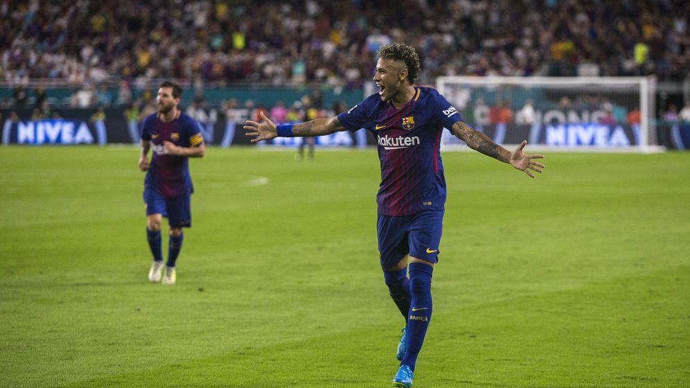 Foto: Neymar celebra un gol con el Barcelona durante la pretemporadad. (Reuters)