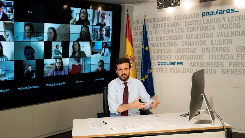 El líder del PP, Pablo Casado, en una rueda de prensa telemática. (EFE)