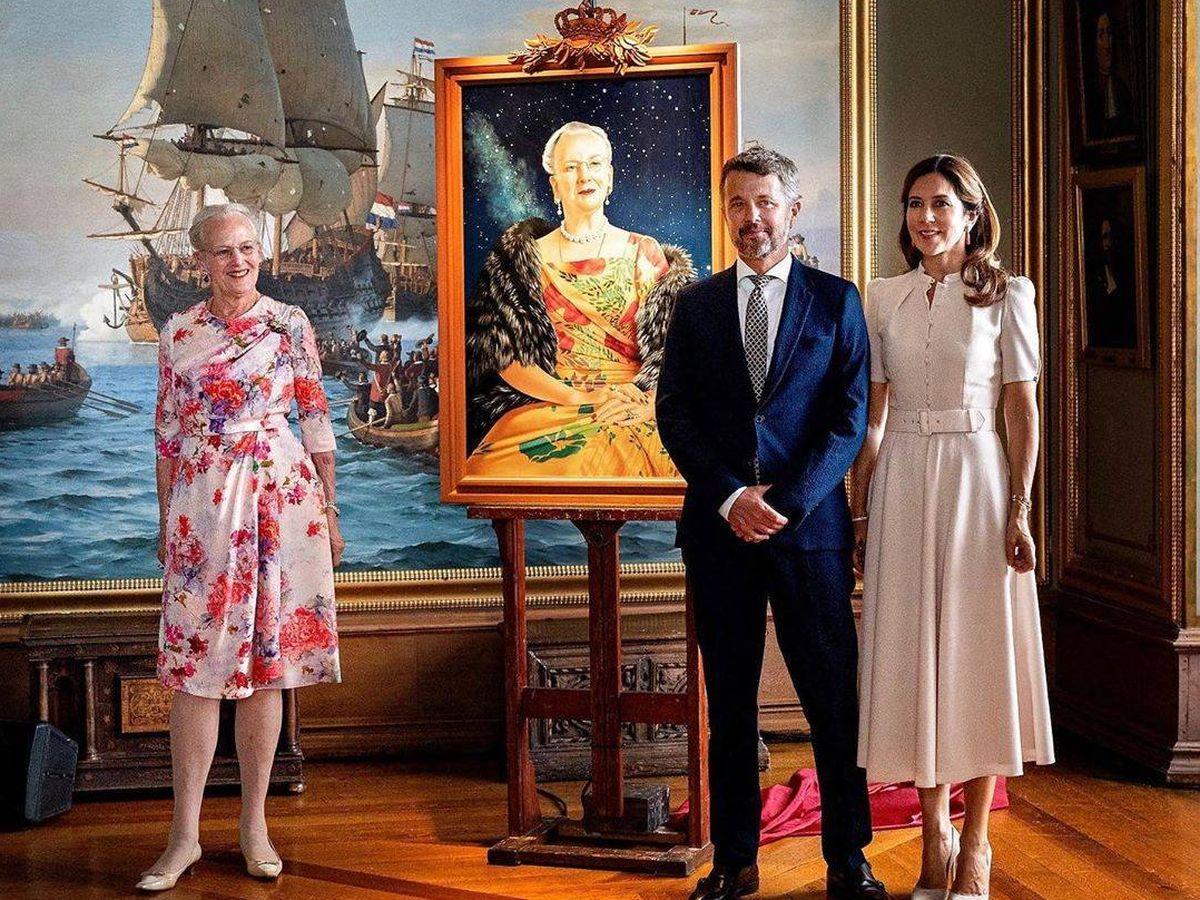 Foto: Federico y Mary, junto a la reina Margarita. (Casa Real)