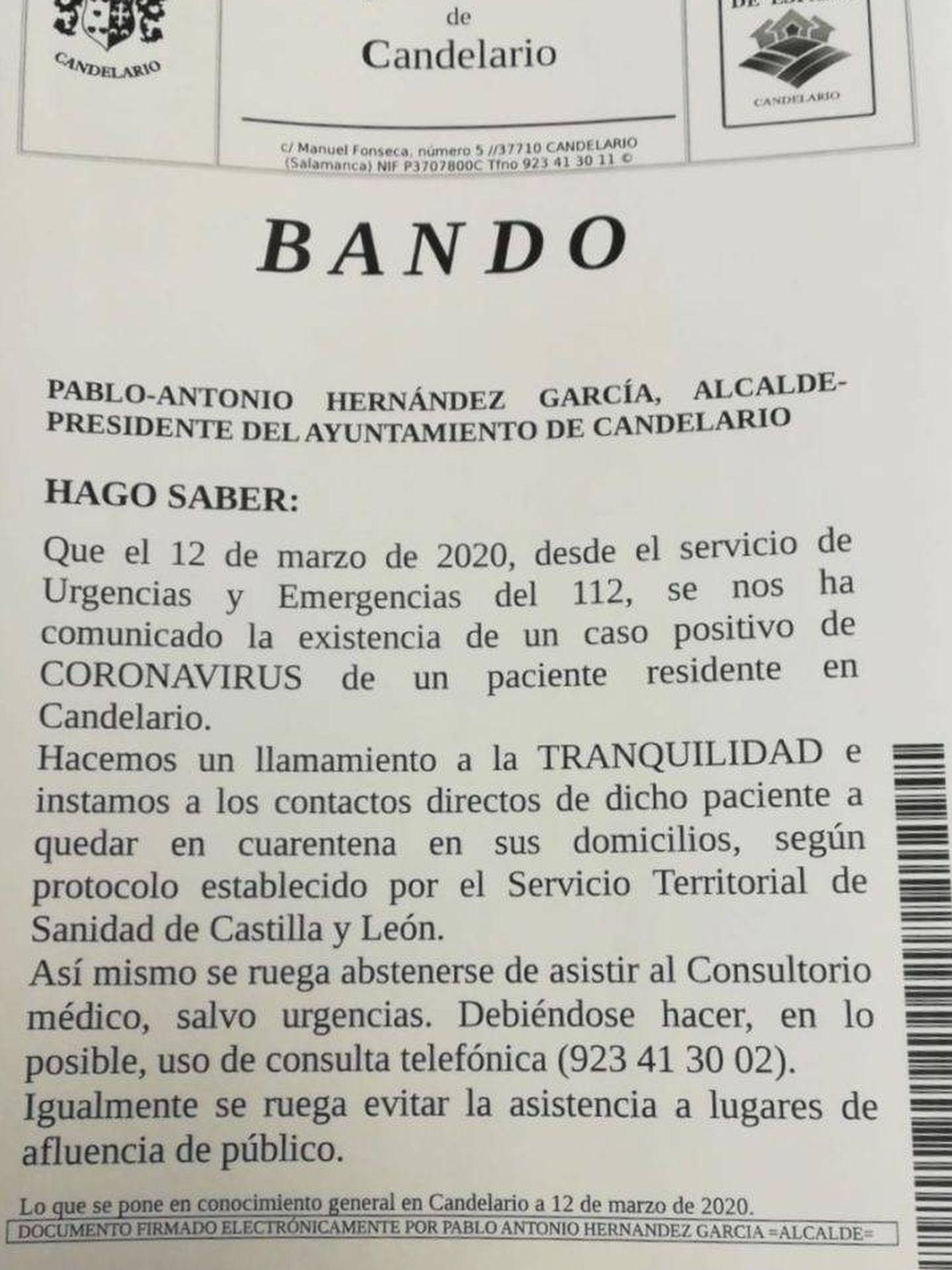 El bando emitido por el alcalde. (Ayuntamiento de Candelario)