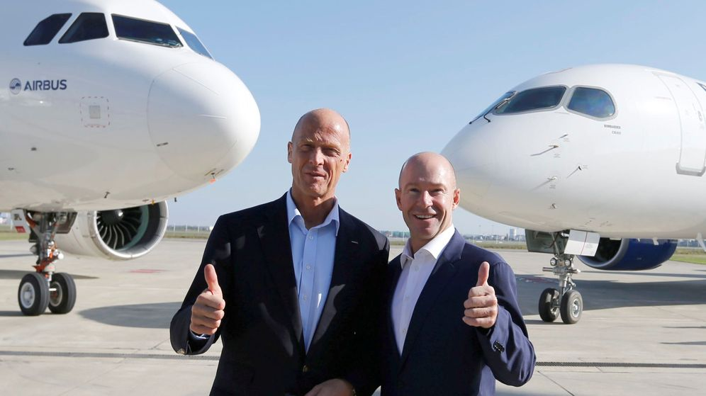 Foto: Alain Bellemare, presidente de Bombardier, con Tom Enders (CEO Airbus). (Reuters)