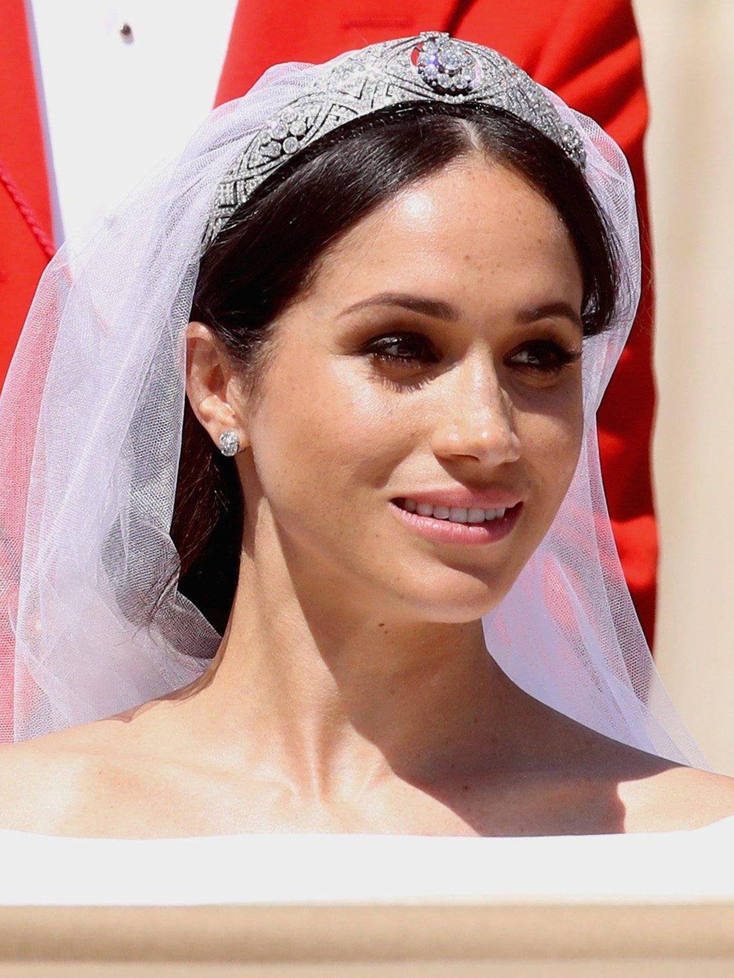 En la boda, Meghan lució unas pestañas muy trabajadas. (Cordon Press)
