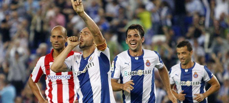 Foto: Sergio García celebra el tercer tanto del Espanyol (Efe).