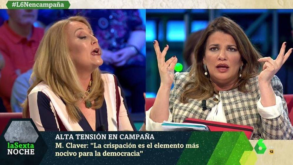 Foto: Elisa Beni y María Claver, en 'La Sexta noche'. (Atresmedia).