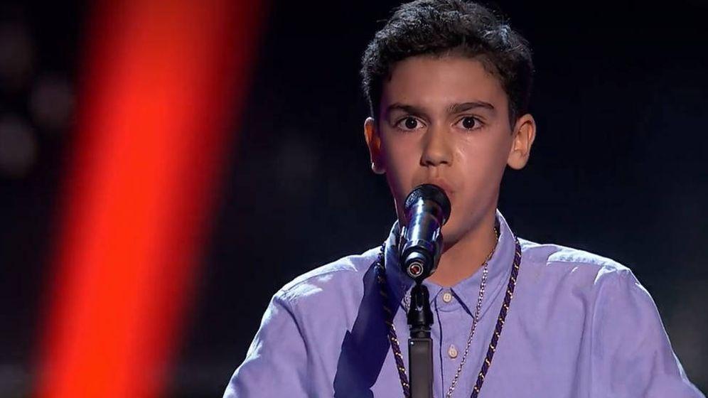 Foto: Hugo Sánchez, en 'La Voz Kids'. (Antena 3)