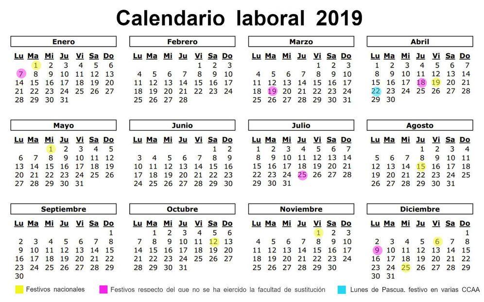 Foto: Calendario laboral de 2019 a nivel nacional. (El Confidencial)