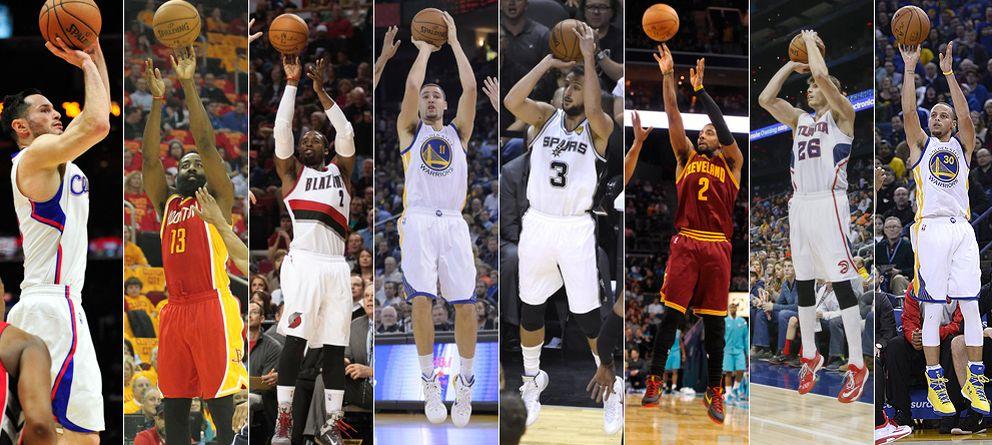 Foto: De izquierda a derecha: Redick, Harden, Matthews, Thompson, Belinelli, Irving, Korver y Curry.