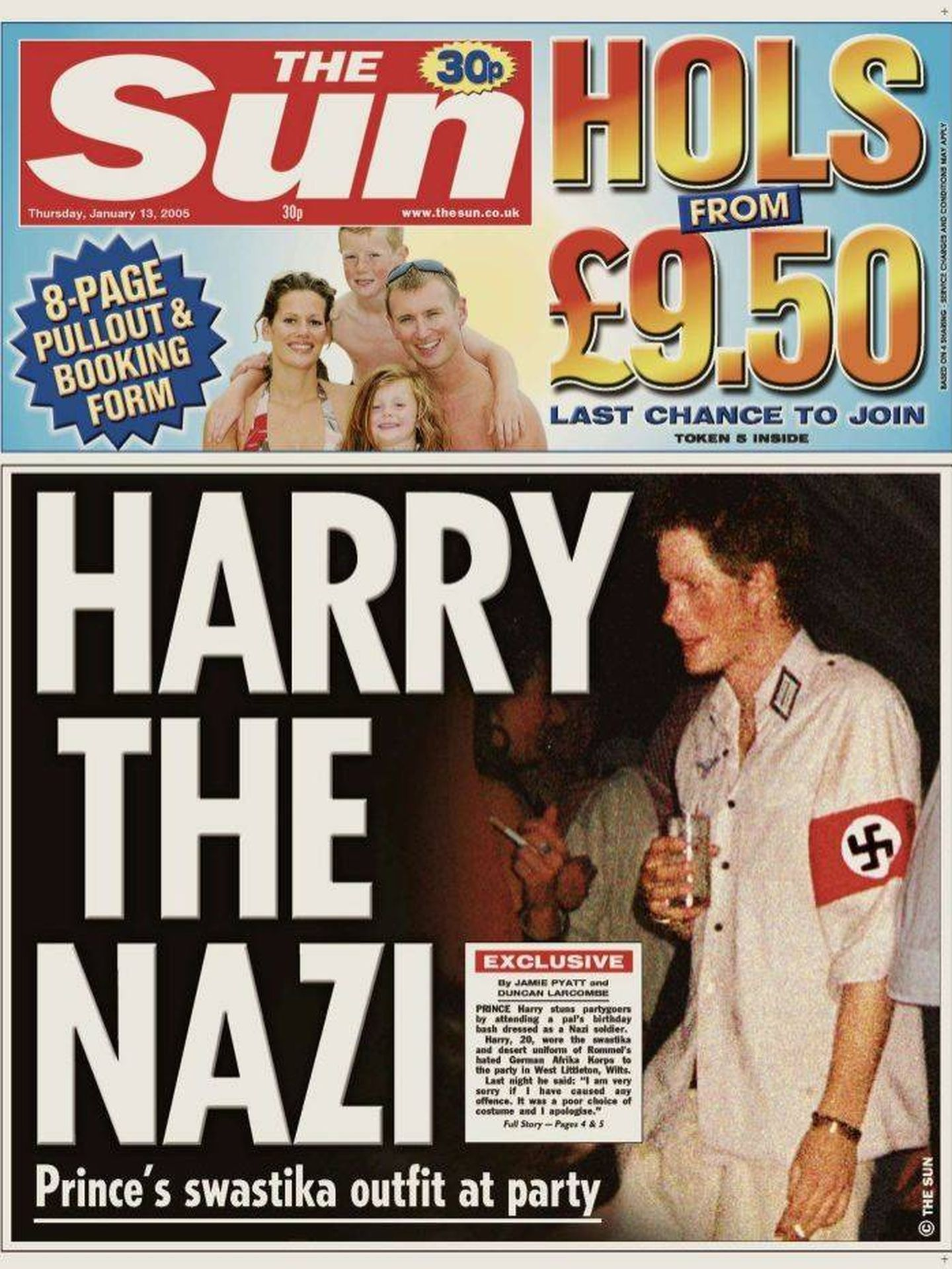 El príncipe Harry, disfrazado de nazi. (The Sun)
