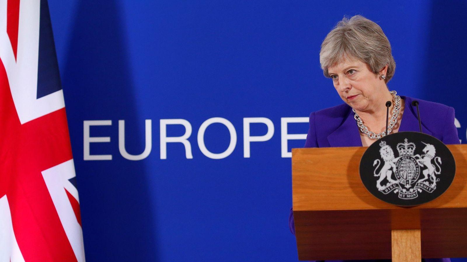 Foto: La primera ministra británica, Theresa May, en Bruselas. (EFE)