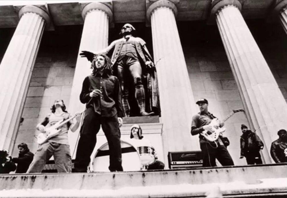 Foto: Rage Agains The Machine en concierto en Wall Street en 2020