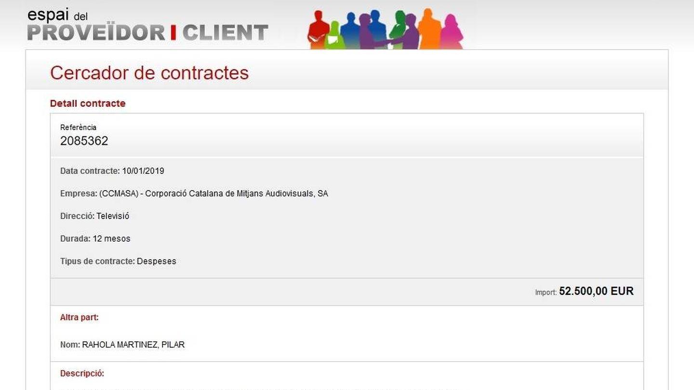 Contrato de Pilar Rahola con TV3. Imagen del portal de transparencia de la CCMA.