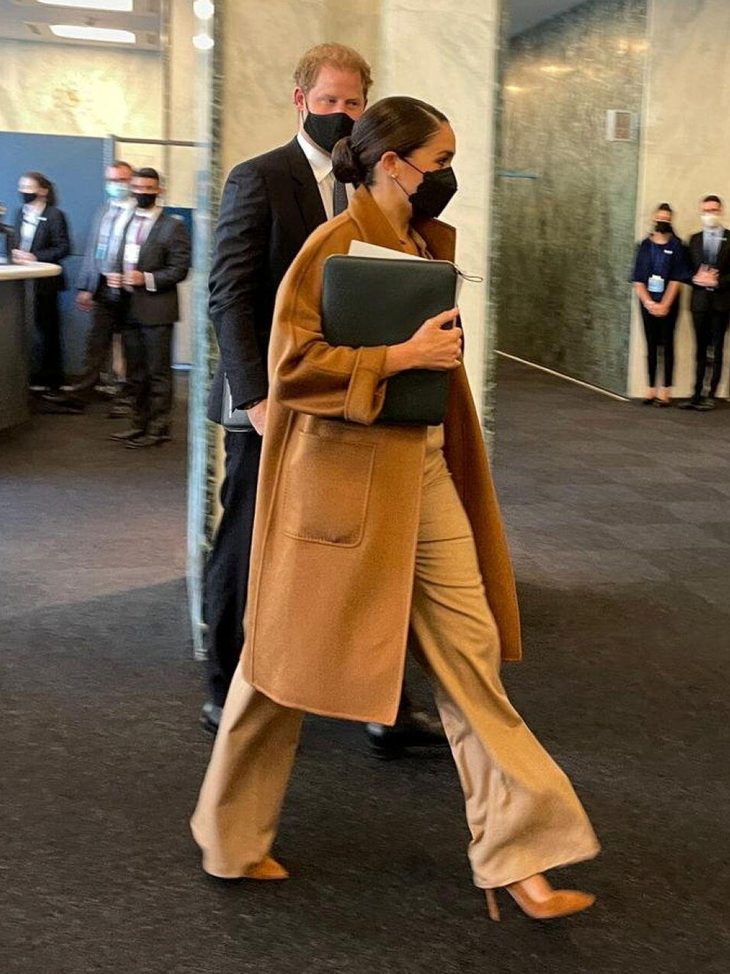 Los Sussex en la reunión de la ONU. (Reuters)