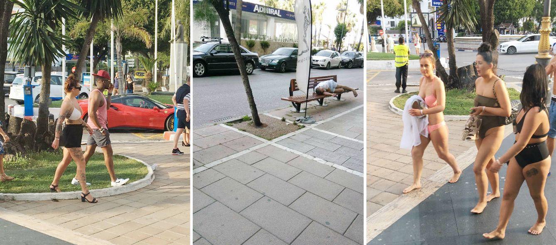 Foto: Composición de imágenes de turistas descalzos y acostados en bancos por las calles de Marbella.