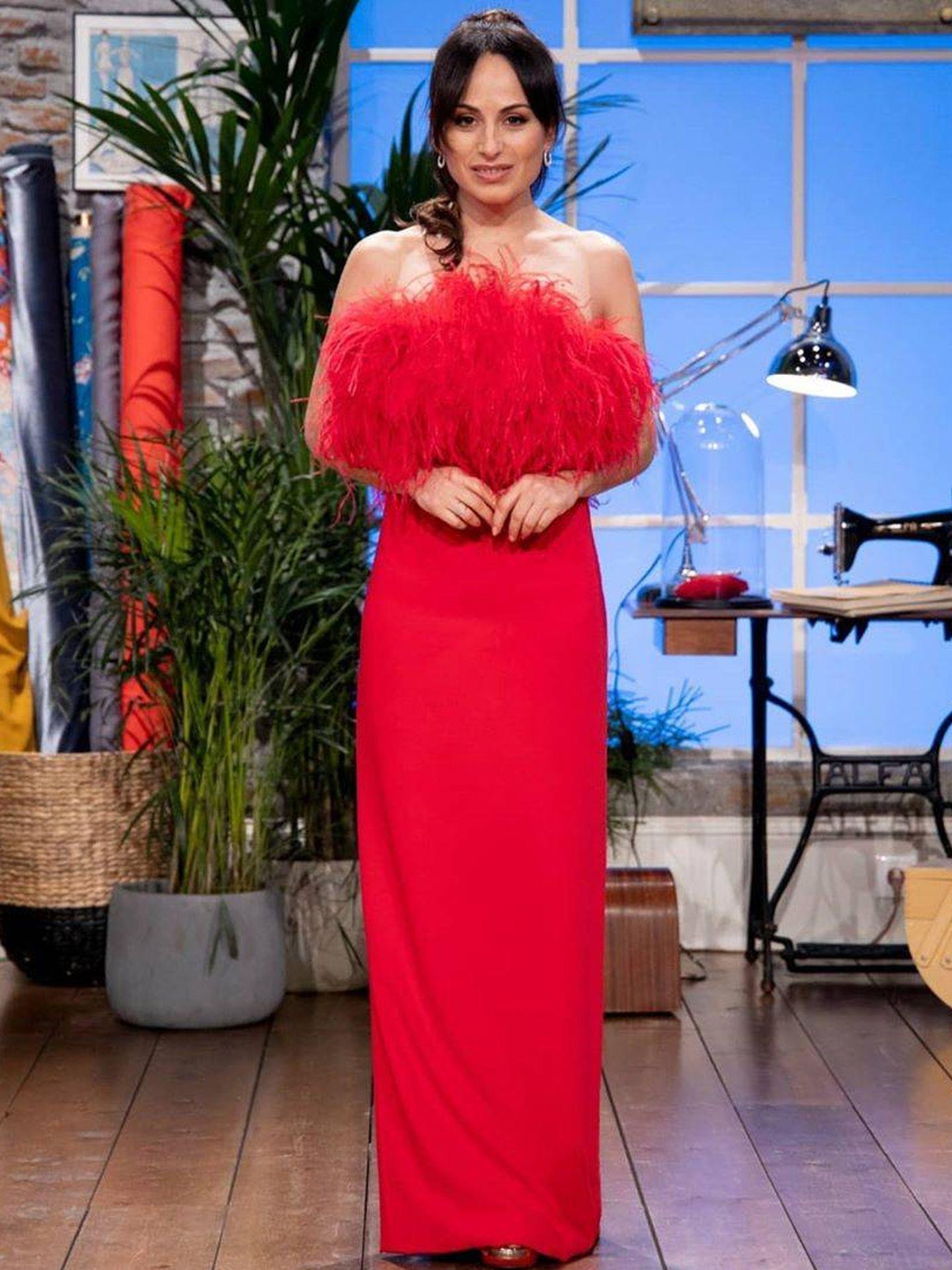 María Escoté, con un vestido de Redondo Brand. (Instagram @maestroscostura)