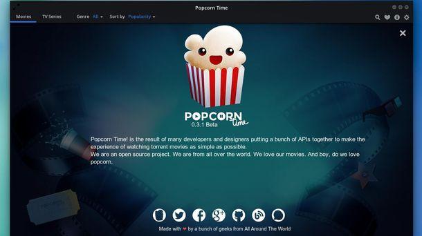 Foto: Captura de pantalla del servicio Popcorn Time