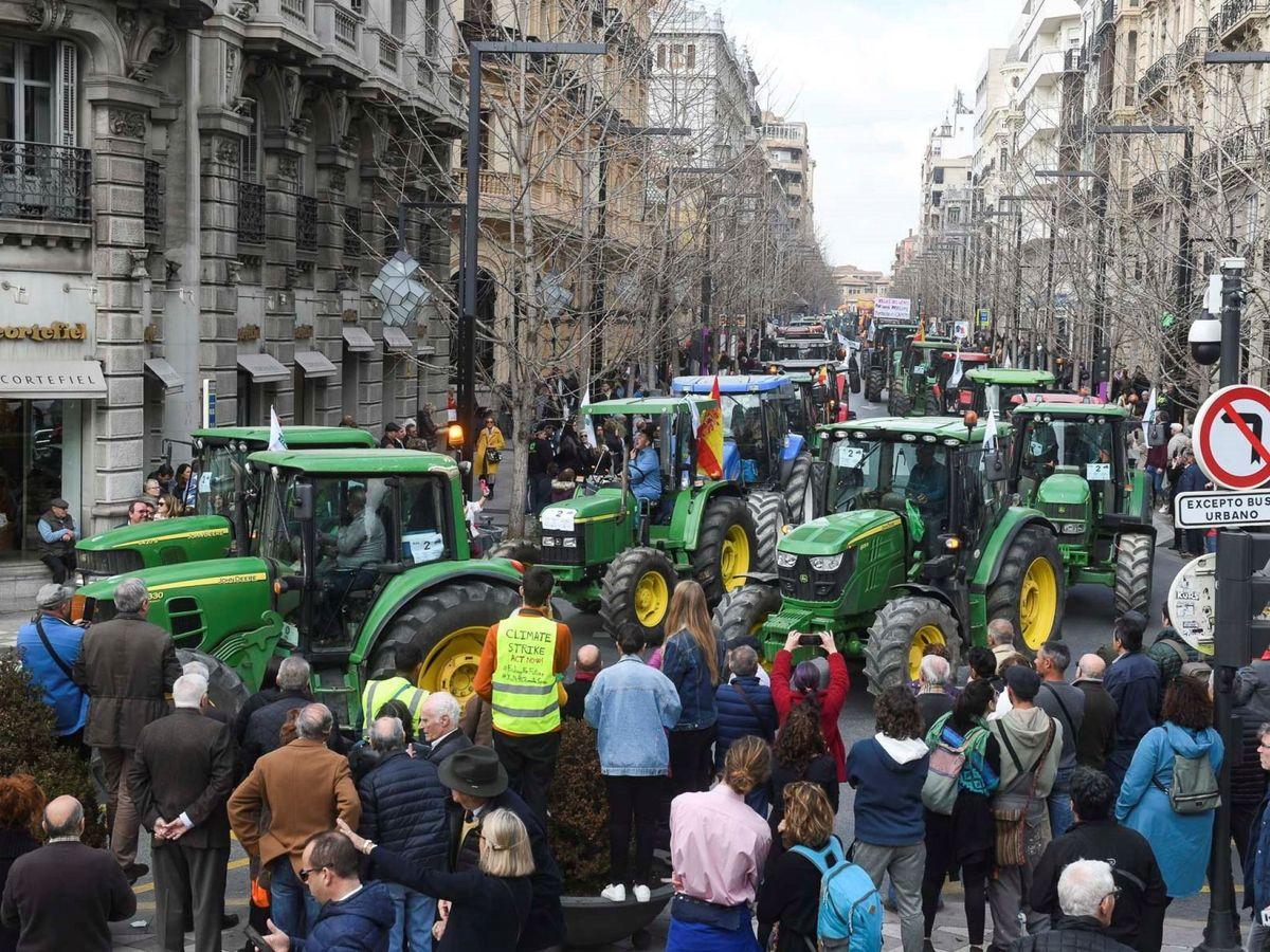 Foto: Imagen de una tractorada por el centro de Granada. (EFE)