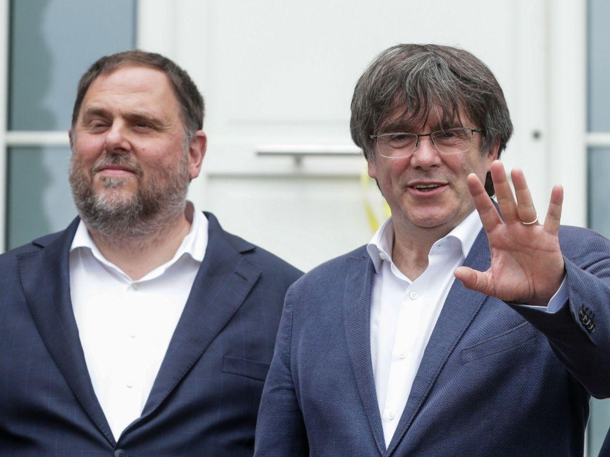 Foto: Oriol Junqueras y Carles Puigdemont, en el encuentro que mantuvieron el pasado 7 de julio. (EFE)