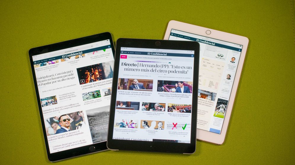Foto: El nuevo iPad Pro (izquierda), el iPad 'barato' (centro) y el iPad Pro de 9,7 (derecha). (Carmen Castellón)