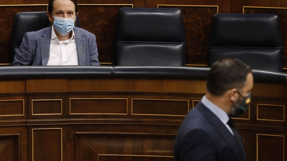 Foto: Iglesias y Abascal, en el pleno del pasado 20 de mayo. (EFE)