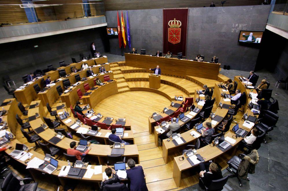 Foto: Un momento del pleno del Parlamento de Navarra de este jueves. (EC)