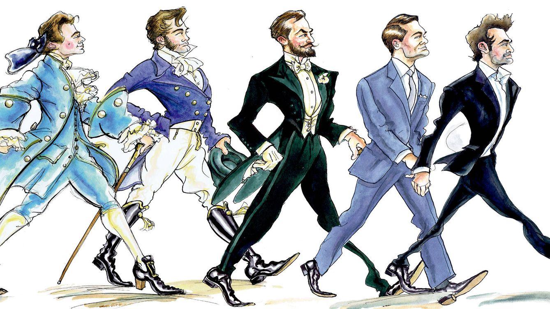 Foto: Representación estética de cómo ha evolucionado el gentleman en los cinco últimos siglos. (Ilustración: Chris Burke)