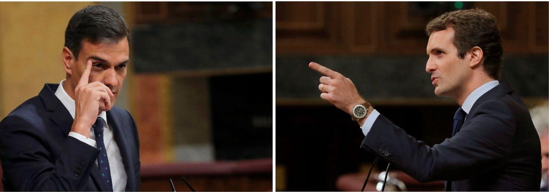 Foto: El presidente del Gobierno y el líder del PP, Pedro Sánchez y Pablo Casado, este 24 de octubre durante el pleno del Congreso. (EFE)