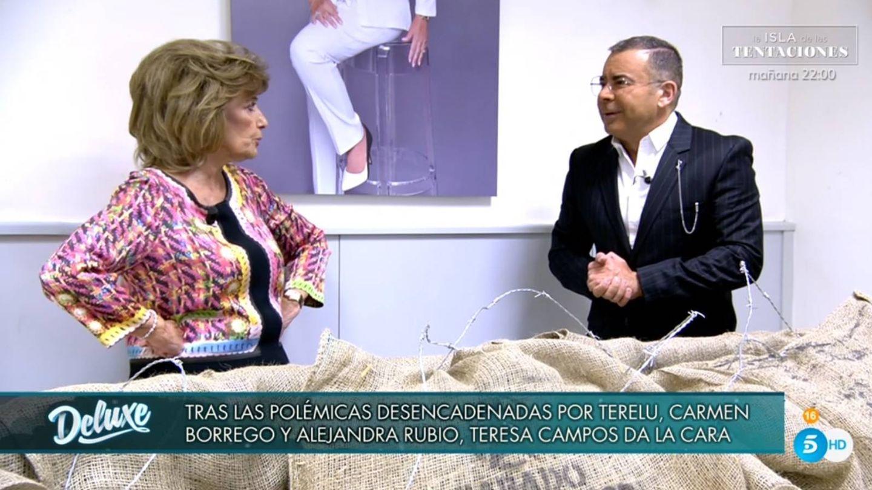 María Teresa Campos y Jorge Javier, en 'Sábado Deluxe'. (Telecinco).