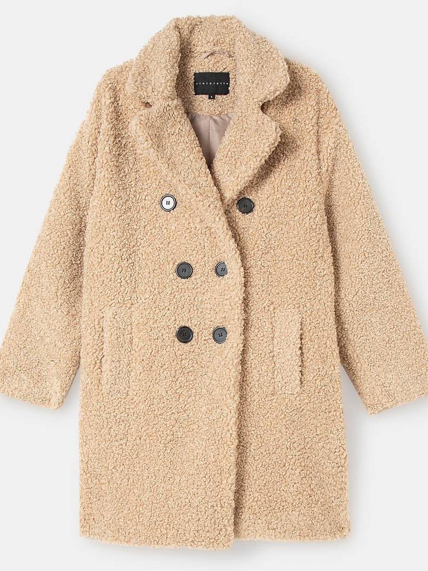 Abrigo de peluche con solapa