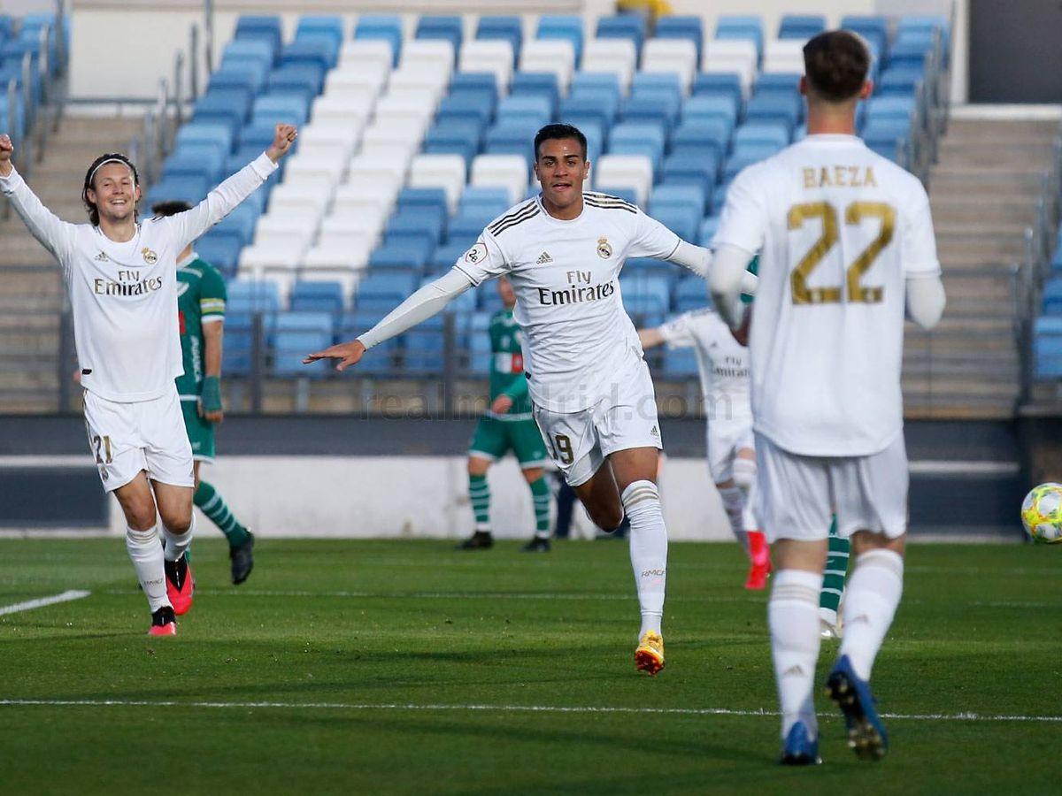 Foto: Reinier celebra su primer gol con el Castilla. (María Jiménez)