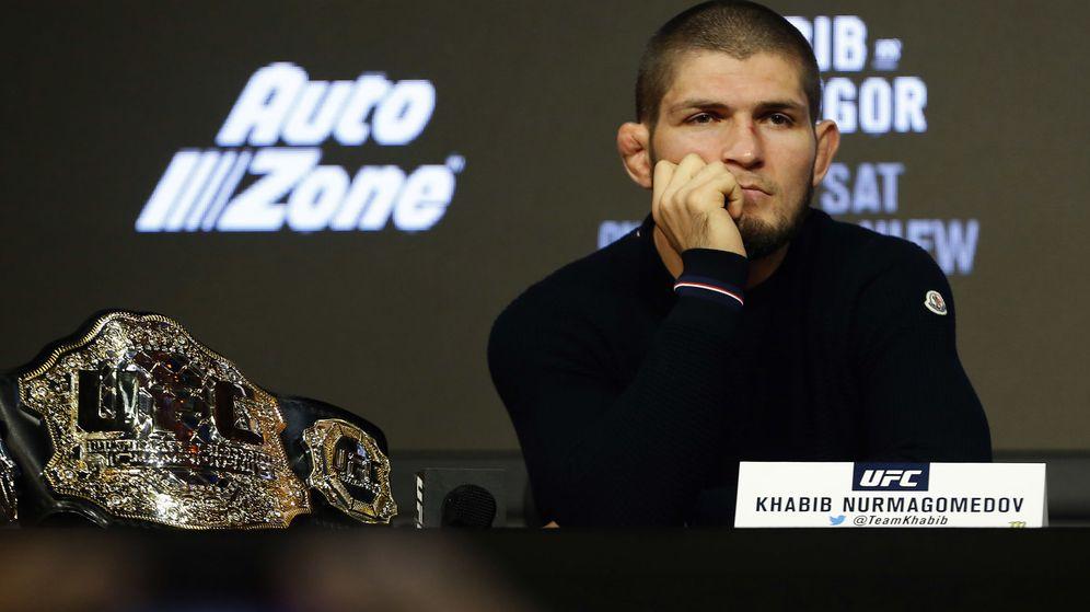 Foto: Khabib Nurmagomedov, durante la rueda de prensa de la UFC 229 del 20 de septiembre. (Noah K. Murray/USA TODAY/Reuters)